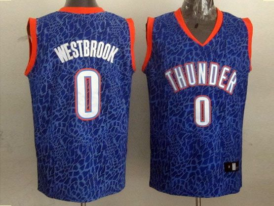 mens nba Oklahoma City Thunder #0 Russell Westbrook blue leopard grain jersey