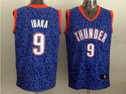 Mens Nba Oklahoma City Thunder #9 Ibaka Blue Leopard Grain Jersey