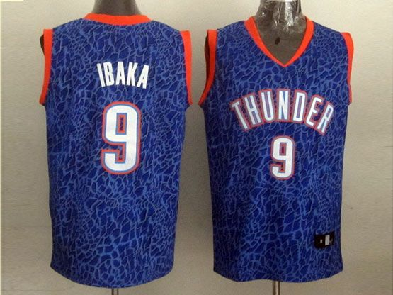 Mens Nba Oklahoma City Thunder #9 Ibaka Blue Leopard Grain Jersey