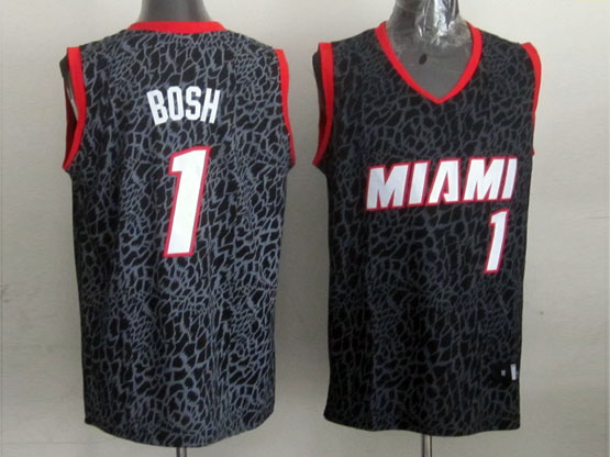Mens Nba Miami Heat #1 Bosh Black Leopard Grain Jersey