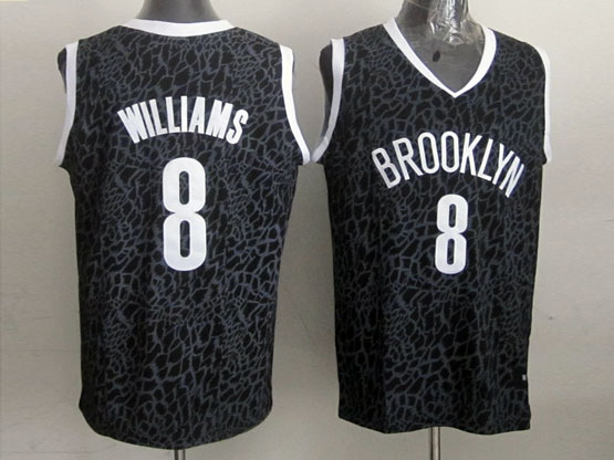 Mens Nba Brooklyn Nets #8 Williams Black Leopard Grain Jersey