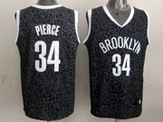 Mens Nba Brooklyn Nets #34 Paul Pierce Black Leopard Grain Jersey