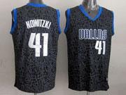 Mens Nba Dallas Mavericks #41 Nowitzki Black Leopard Grain Jersey