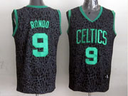 Mens Nba Boston Celtics #9 Rondo Black Leopard Grain Jersey