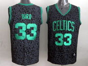 Mens Nba Boston Celtics #33 Bird Black Leopard Grain Jersey