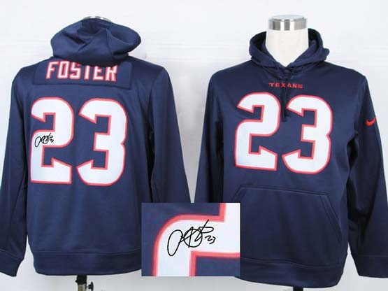 Mens Nfl Houston Texans #23 Foster Blue Hoodie(signature Edition)jersey
