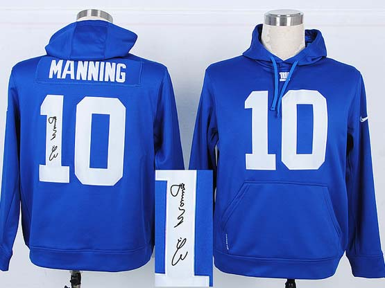 Mens Nfl New York Giants #10 Manning Blue Hoodie(signature Edition)jersey