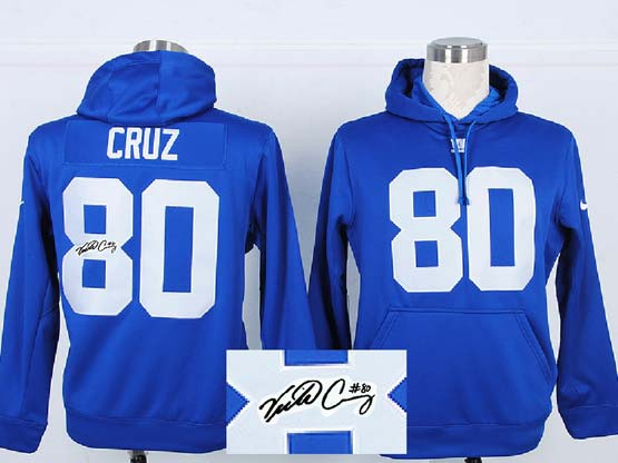mens nfl New York Giants #80 Victor Cruz blue hoodie(signature edition)jersey