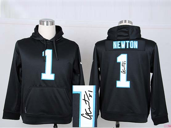 mens nfl Carolina Panthers #1 Cam Newton black hoodie(signature edition)jersey