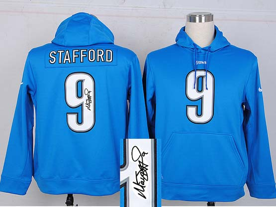 mens nfl detroit lions #9 stafford Light Blue hoodie(signature edition)jersey