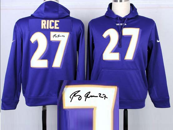Mens Nfl Baltimore Ravens #27 Sheldon Price Purple Hoodie(signature Edition)jersey