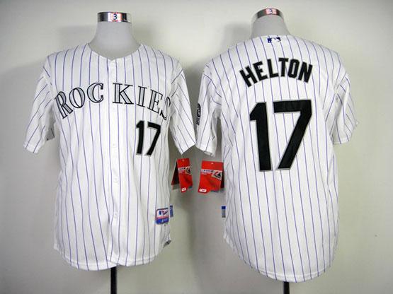 Mens mlb colorado rockies #17 helton white(article purple) Jersey