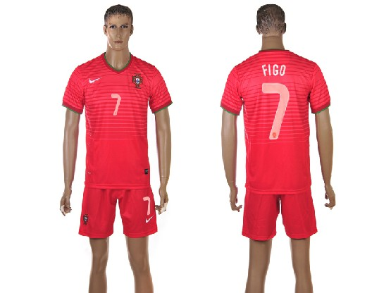 Mens Soccer Portugal National Team #7 Figo Red Home 2014 World Cup Jersey Set
