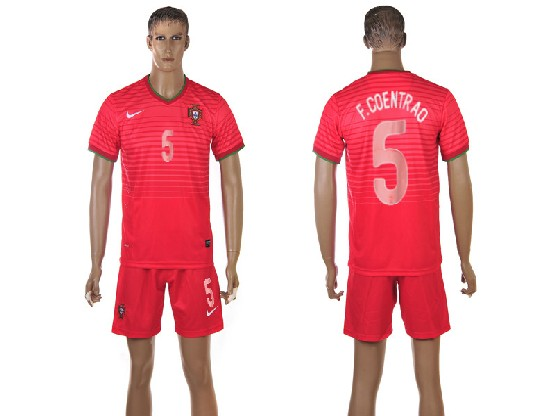Mens Soccer Portugal National Team #5 F.coentrao Red Home 2014 World Cup Jersey Set