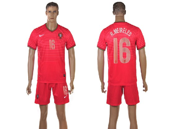 mens soccer portugal national team #16 r.meireles red home 2014 world cup Suit Jersey