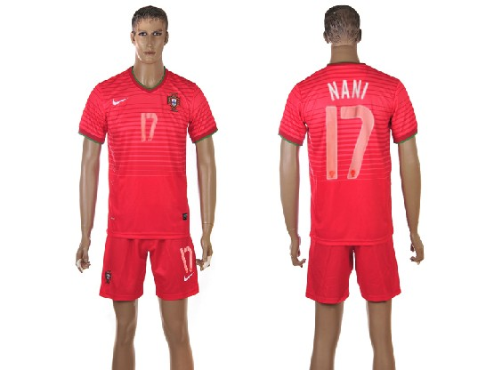 Mens Soccer Portugal National Team #17 Nani Red Home 2014 World Cup Jersey Set