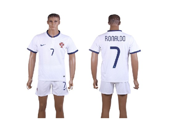 mens soccer portugal national team #7 ronaldo white away 2014 world cup Suit Jersey