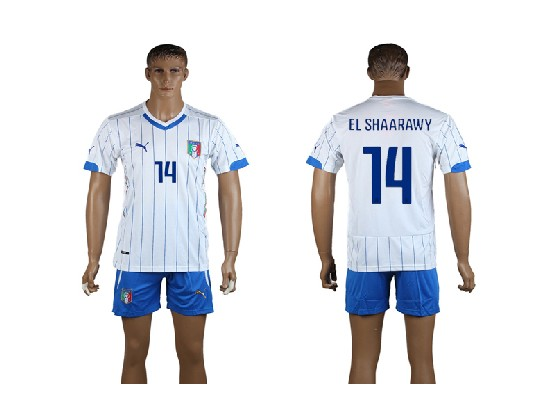Mens Soccer Italy National Team #14 El Shaarawy White Away 2014 World Cup Jersey Set