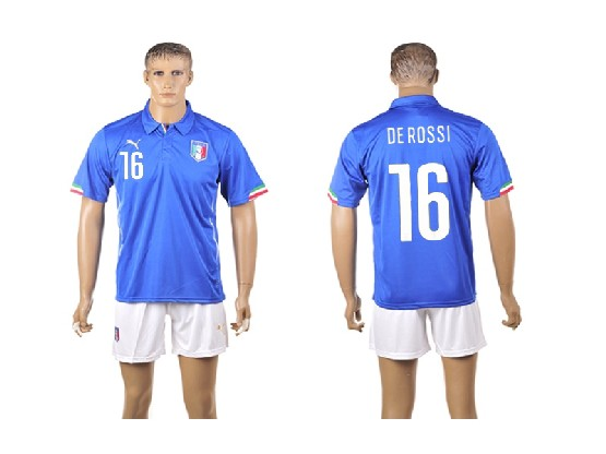 Mens Soccer Italy National Team #16 De Rossi Blue Home 2014 World Cup Jersey Set