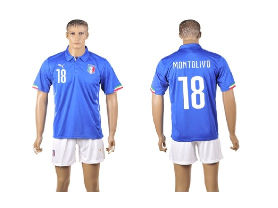 Mens Soccer Italy National Team #18 Montolivo Blue Home 2014 World Cup Jersey Set