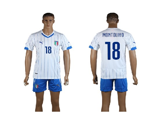 Mens Soccer Italy National Team #18 Montolivo White Away 2014 World Cup Jersey Set