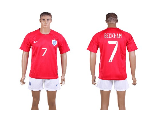 Mens Soccer England National Team #7 Beckham Red Away (2014 World Cup) Jersey Set