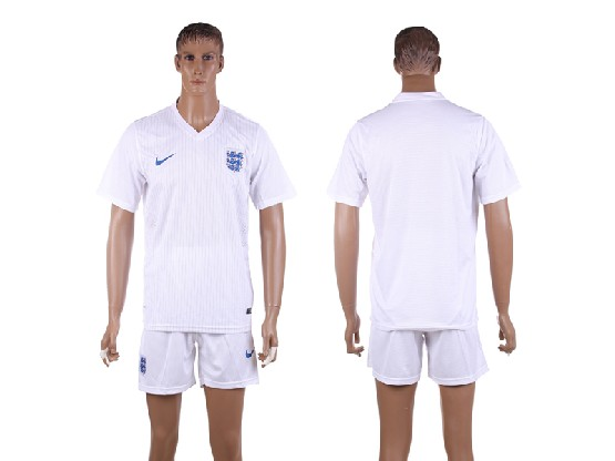 Mens Soccer England National Team (blank) White Home (2014 World Cup) Jersey Set