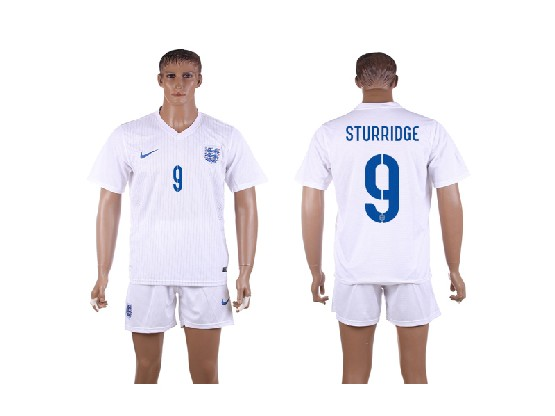 Mens Soccer England National Team #9 Sturridge White Home (2014 World Cup) Jersey Set