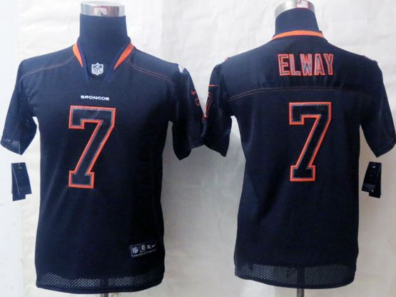 Youth Nfl Denver Broncos #7 Elway Black (lights Out) Elite Jersey