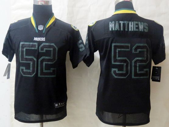Youth Nfl Green Bay Packers #52 Matthews Black (lights Out) Elite Jersey