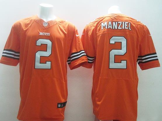Mens Nfl Cleveland Browns #2 Manziel Orange Elite Jersey