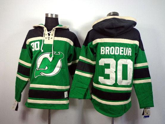 Mens nhl new jersey devils #30 brodeur green hoodie Jersey