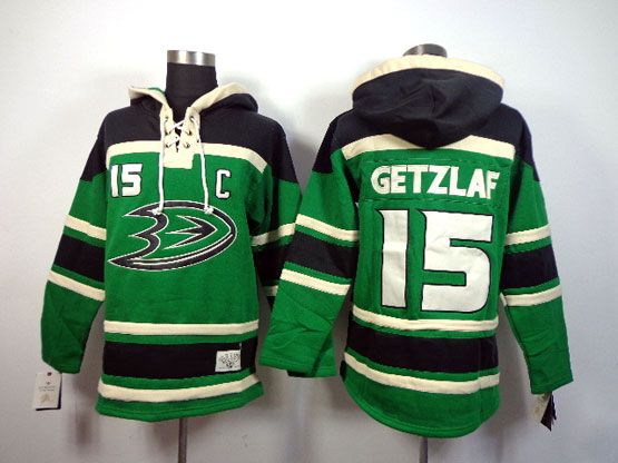 Mens Nhl Anaheim Mighty Ducks #15 Getzlaf Green (team Hoodie) Jersey