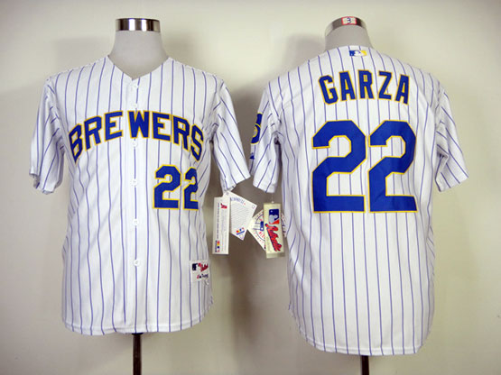 Mens mlb milwaukee brewers #22 garza white (blue strip) Jersey