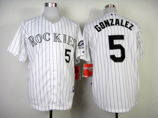 Mens mlb colorado rockies #5 gonzalez white (purple stripe) Jersey
