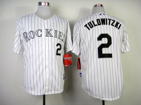 Mens mlb colorado rockies #2 tulowitzki white (purple stripe) Jersey