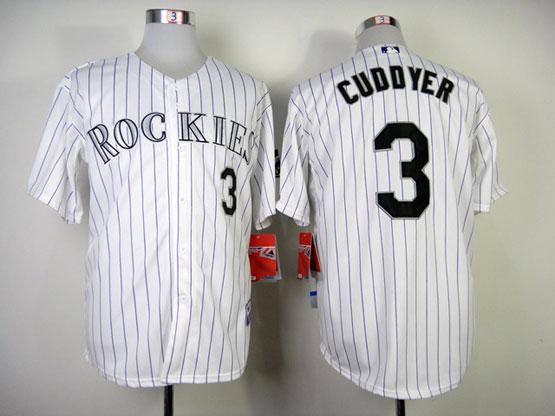 Mens mlb colorado rockies #3 cuddyer white (purple stripe) Jersey