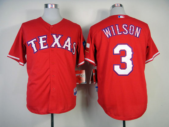 Mens mlb texas rangers #3 wilson red Jersey