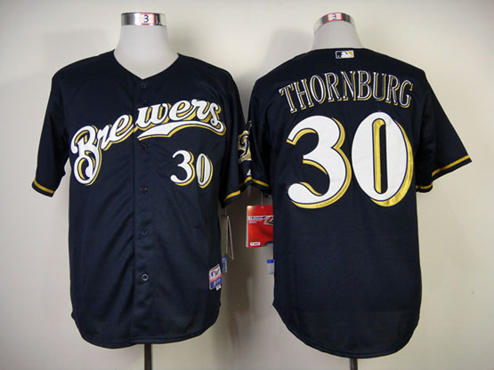 Mens Mlb Milwaukee Brewers #30 Thornburg Blue (cool Base) Jersey