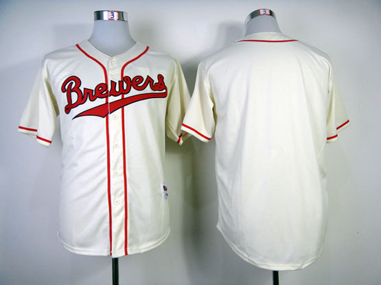 Mens Mlb Milwaukee Brewers (biank) 1948 Cream Turn Back Jersey