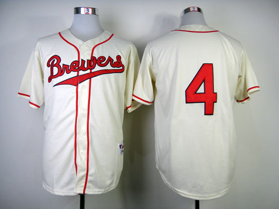 Mens Mlb Milwaukee Brewers #4 Molitor 1948 Cream Turn Back Jersey(no Name Red Number)