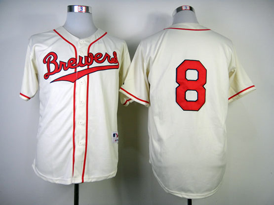 Mens Mlb Milwaukee Brewers #8 Braun 1948 Cream Turn Back Jersey(no Name Red Number)
