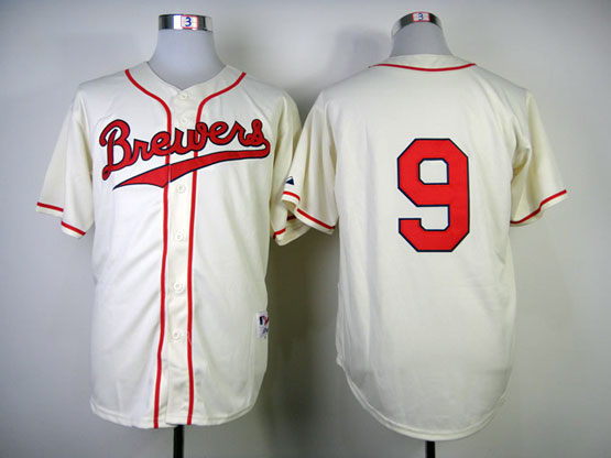 Mens Mlb Milwaukee Brewers #9 Segura 1948 Cream Turn Back Jersey(no Name Red Number)