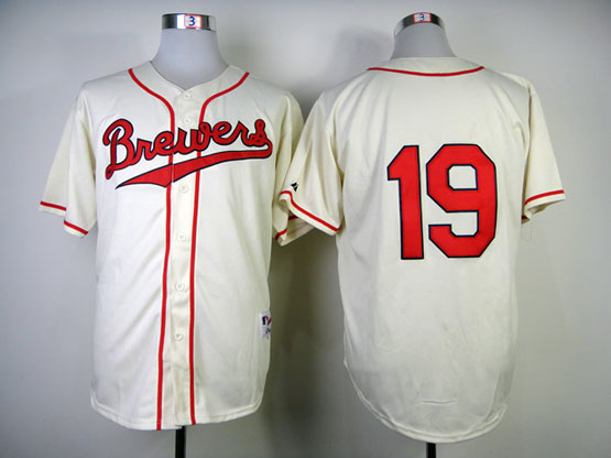 Mens Mlb Milwaukee Brewers #19 Yount 1948 Cream Turn Back Jersey(no Name Red Number)