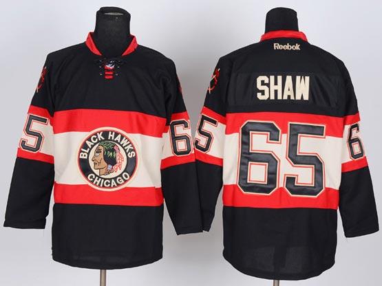 Mens reebok nhl chicago blackhawks #65 shaw black (new third) Jersey