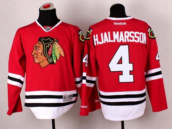 Mens reebok nhl chicago blackhawks #4 hjalmarsson red (2014 new) Jersey