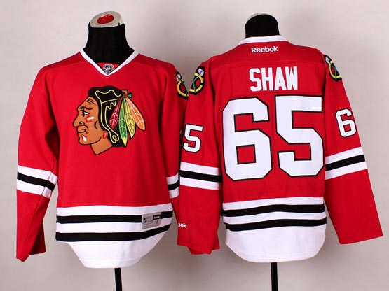 Mens reebok nhl chicago blackhawks #65 shaw red (2014 new) Jersey
