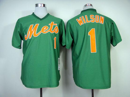 Mens mlb new york mets #1 wilson green throwbacks Jersey