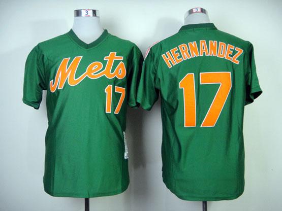 Mens mlb new york mets #17 hernandez green 1985 throwbacks Jersey