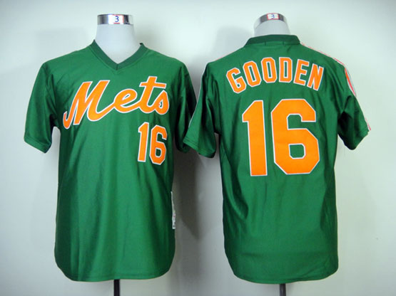 Mens mlb new york mets #16 gooden green 1985 throwbacks Jersey